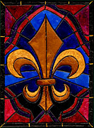 Nfl Painting Posters - Stained Glass Fleur de Lis Poster by Elaine Hodges
