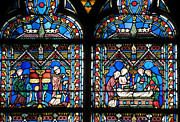 Church Posters - Stained glass window of Notre Dame de Paris. France Poster by Bernard Jaubert