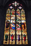 Christian Glass Art Posters - Stained glass window Poster by Suhas Tavkar
