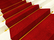 Rendered Framed Prints - Stair And Red Carpet Framed Print by Gualtiero Boffi