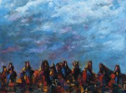 Herd Of Horses Paintings - Stampede by Frances Marino
