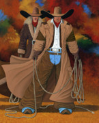 Contemporary Cowgirl Paintings - Stand By Your Man by Lance Headlee
