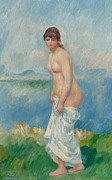 Nudes Framed Prints - Standing Bather Framed Print by Pierre Auguste Renoir