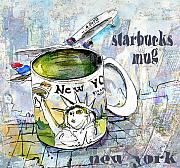 New York Mixed Media Framed Prints - Starbucks Mug New York Framed Print by Miki De Goodaboom