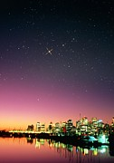 Starry Sky Framed Prints - Starry Sky Over Vancouver Framed Print by David Nunuk