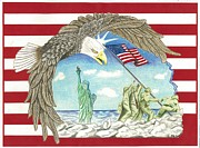 Marines Drawings Prints - Stars and Stripes Print by Thomas Cavaness