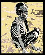 Hunger Digital Art Framed Prints - Starving African Framed Print by Gabe Art Inc