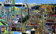 Amusement Rides Posters - State Fair Poster by David Lee Thompson