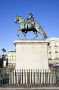 Historic Statue Posters - Statue of King Charles III in Madrid Poster by Artur Bogacki