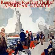 New York Harbor Art - Statue Of Liberty.  Poster Showing by Everett