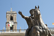 Low Light Posters - Statue of Marcus Aurelius on Capitoline Hill Rome Lazio Italy Poster by Bernard Jaubert