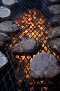 Halsey Framed Prints - Steaks On A Campfire Grill At The 4-h Framed Print by Joel Sartore