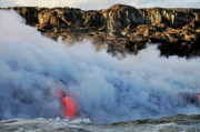 Flowing Lava Posters - Steam rising off lava flowing into ocean Poster by Sami Sarkis