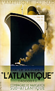 Ocean Liner Framed Prints - Steamship Travel Poster Framed Print by Granger