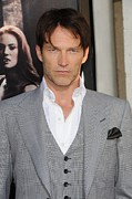Gray Suit Framed Prints - Stephen Moyer At Arrivals For True Framed Print by Everett