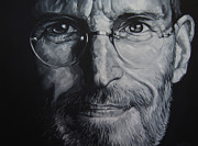 Apple Drawings Framed Prints - Steve Jobs Framed Print by Steve Hunter