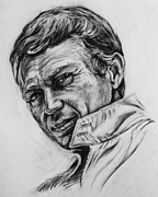 Charcoal Portrait Posters - Steve McQueen Poster by Steve Hunter