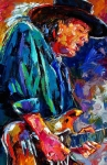 Blues Guitar Paintings - Stevie Ray Vaughan by Debra Hurd