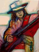 Music Legend Mixed Media Framed Prints - Stevie Ray Vaughan Framed Print by Regina Brandt