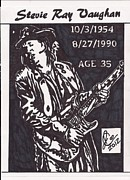 Music Legend Drawings Posters - Stevie Ray Vaughn Poster by Jeremiah Colley
