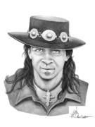 Pencil Portrait Drawings - Stevie Ray Vaughn by Murphy Elliott