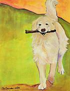 Acrylic Dog Paintings - Stick Together by Pat Saunders-White            