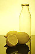 Assorted Posters - Still life of bottles  and lemons Poster by Ilan Amihai