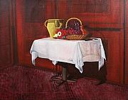 Table Cloth Posters - Still life Poster by Vladimir Kezerashvili