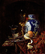 Blue And White Painting Prints - Still Life with a Chinese Porcelain Jar Print by Willem Kalf