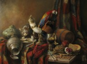 Cornucopia Painting Metal Prints - Still-life with a lobster Metal Print by Tigran Ghulyan