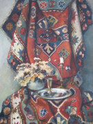 Still-life With A Wineglass Posters - Still-life with an old rug Poster by Tigran Ghulyan