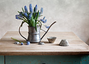 Lifestyle Mixed Media Posters - Still life with grape hyacinths Poster by Nailia Schwarz