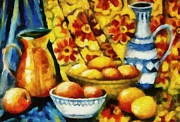 Baskets Posters - Still Life with Oranges Poster by Michelle Calkins