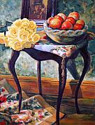 Interior Still Life Painting Metal Prints - Still Life With Roses Metal Print by Iliyan Bozhanov