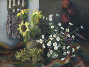 Grapes Paintings - Still-life with sunflowers by Tigran Ghulyan