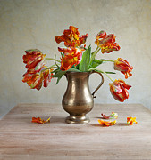Grungy Mixed Media Posters - Still Life with Tulips Poster by Nailia Schwarz
