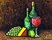 Pear Painting Acrylic Prints - Still Life With Wine and Cheese Acrylic Print by Kamil Swiatek