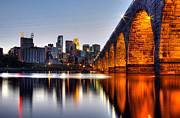 Minneapolis Skyline Posters - Stone Arch Sunset Poster by Michael Klement