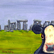 Photo  Paintings - Stonehenge Cow by Terry Taylor