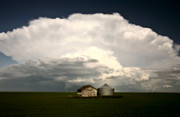 Summer Scene Framed Prints - Storm clouds over Saskatchewan granaries Framed Print by Mark Duffy
