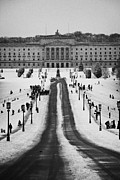 Cold Play Framed Prints - stormont parliament buildings on a cold snowy winters day Belfast Northern Ireland Framed Print by Joe Fox