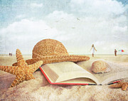 Old Shell Posters - Straw hat book and seashells in the sand Poster by Sandra Cunningham