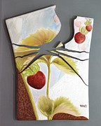 Food And Beverage Ceramics Prints - Strawberry Explosion Print by Kathleen Pio