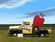Landscape Mixed Media Originals - Strawberry Truck by Snake Jagger