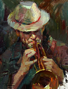 Oil On Canvas Drawings - Street Musician by Tony Song