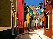 Michael Photo Framed Prints - Street of Color Guanajuato 2 Framed Print by Olden Mexico