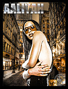 Superstar Mixed Media Framed Prints - Street Phenomenon Aaliyah Framed Print by The DigArtisT
