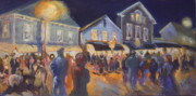 Small Towns Painting Metal Prints - Streetlights In Chester Metal Print by B Rossitto