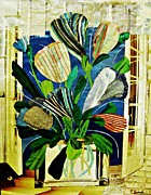 Vase Mixed Media Posters - Striped Tulips at the Old Apartment Poster by Sarah Loft
