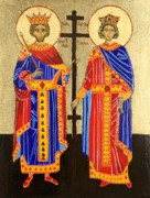 Religious Icons Paintings - Sts. Constantine and Helen by Amy Reisland-Speer